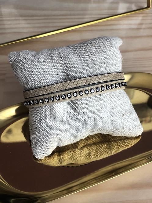 Bracelet cuir beige 2 rangs