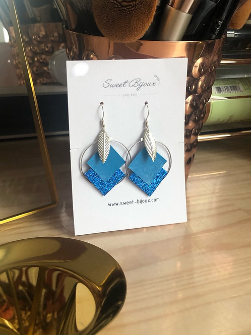 Boucles d'oreilles cuir bleu feuille