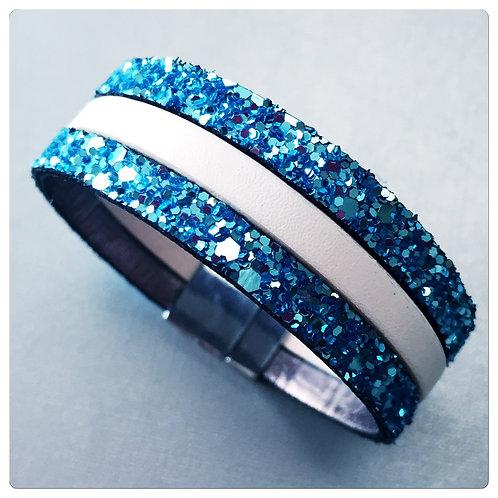 Bracelet Cuir Agathe Bleu