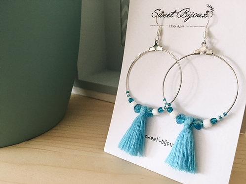 Boucles d'oreilles Perles Pompon Bleu et Blanc