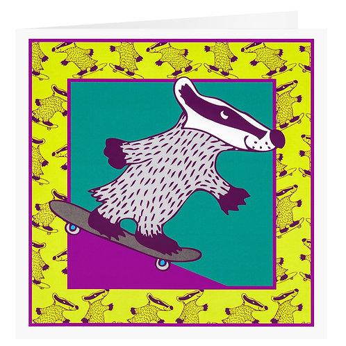 Skating Badger Greetings Card