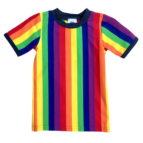 Short-Sleeve Rainbow Stripe T-Shirt For Toddlers, Kids