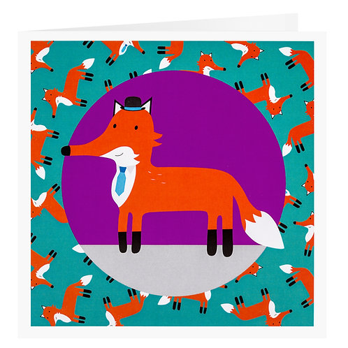 Well-Dressed Fox Greetings Card