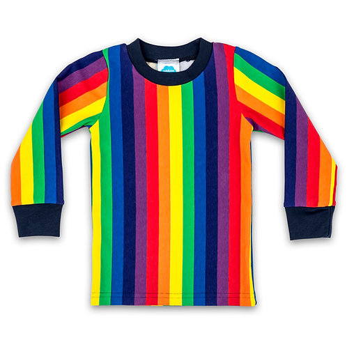 Long-Sleeve Rainbow Stripe T-Shirt For Toddlers, Kids