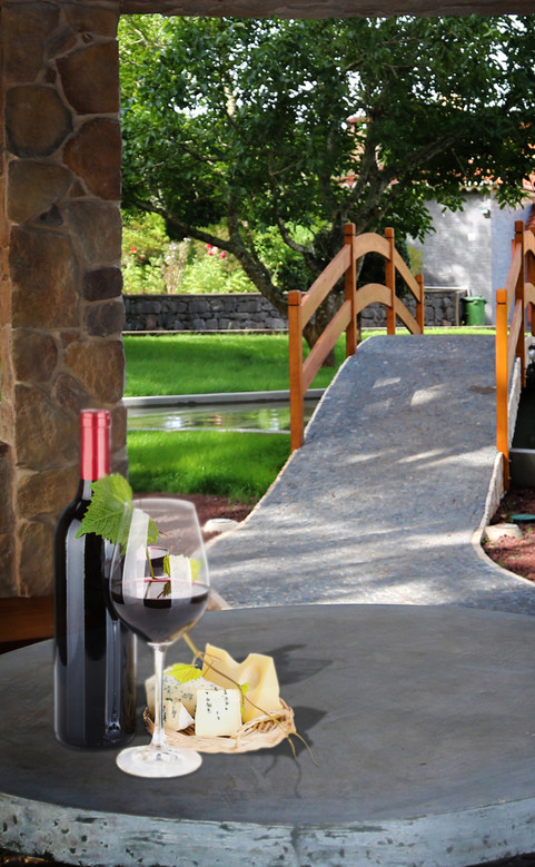Relax in the gazebo with some of the local wine.