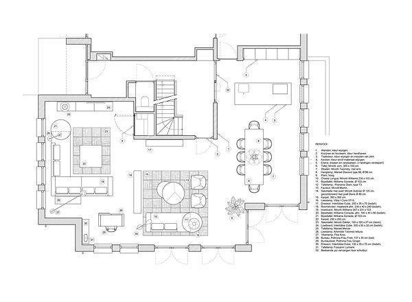 indeling woonruimte en woonkeuken