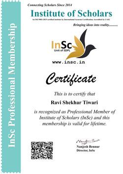 Professional Member of InSc