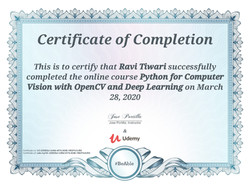 Certificates of OpenCv for D.L