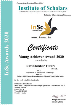 Young Achiever Award, Year- 2020