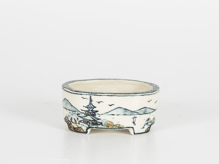 Oval Pot Hand Painted
