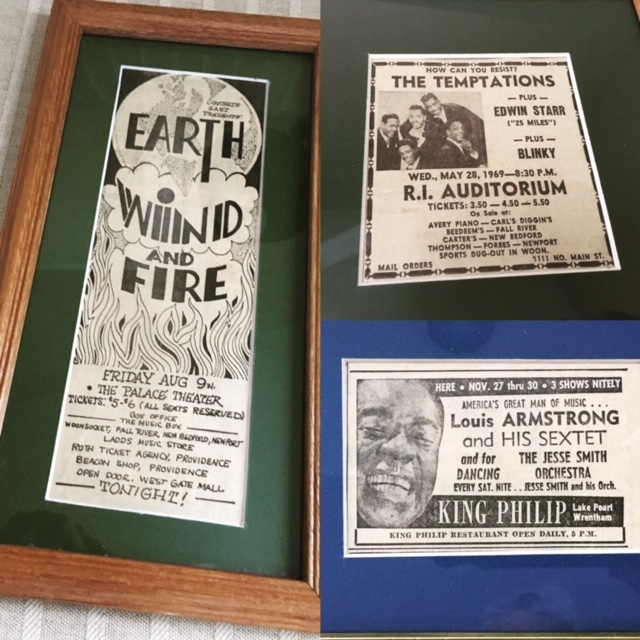 Framed Vintage Entertainment Ads