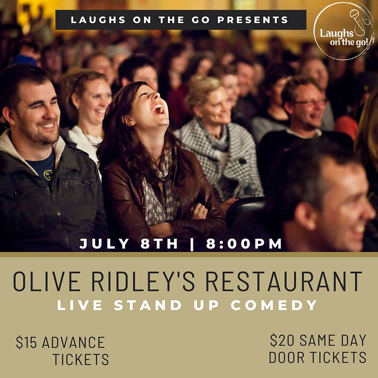 Laughs on the Go at Olive Ridley's; A Live Stand Up Comedy Event