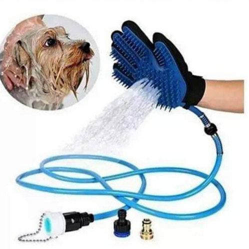 Guante manguera para baño de mascota