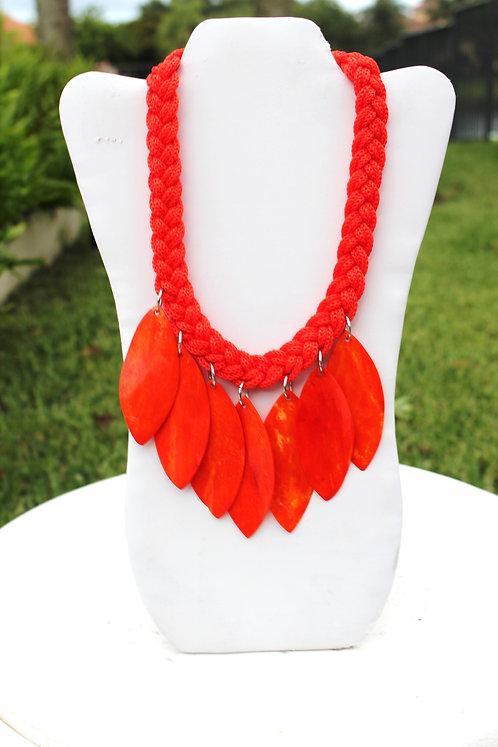 Tangerine Wooden Cutlet Necklace