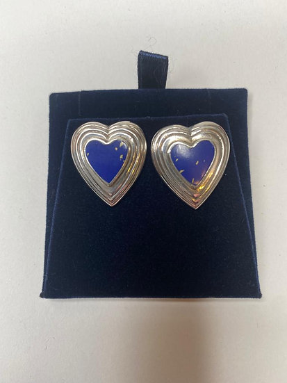 Gold Flakes Lapis Silver Earings