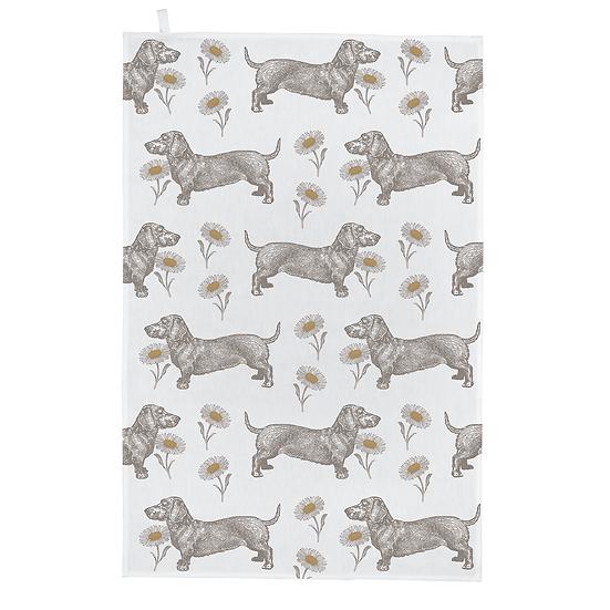 Dog & Daisy Tea Towel