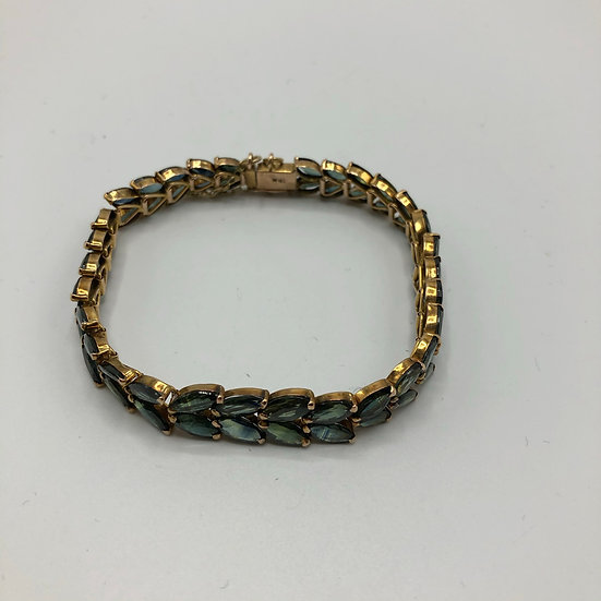 Rare Green Blue Sapphire & Gold Bracelet