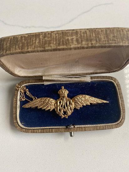 9ct Gold RAF Brooch