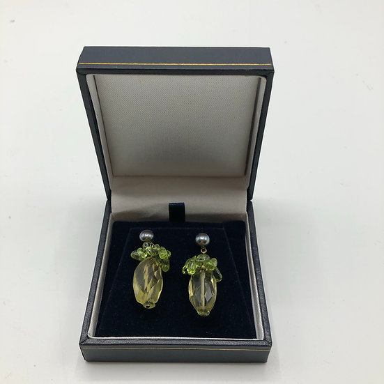 9ct Gold & Lemon Quartz Earrings