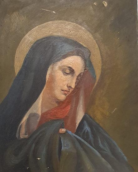 Madonna , 19th C  Oil on Board