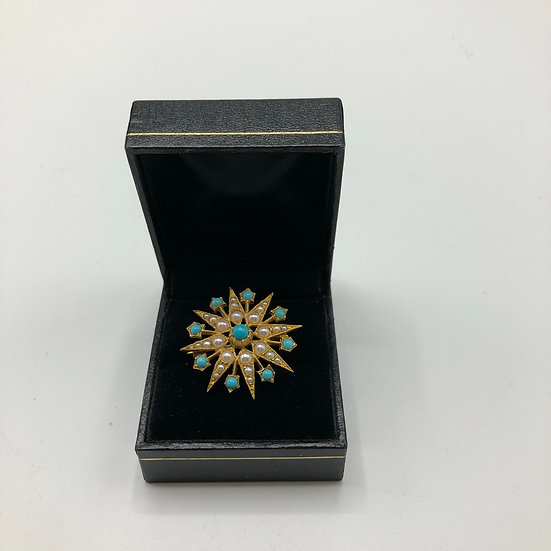 Turquoise & Pearl Star Brooch c1900
