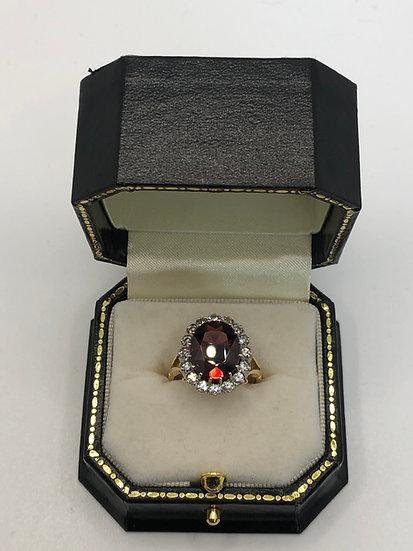 Victorian Garnet & Diamond Oval Ring