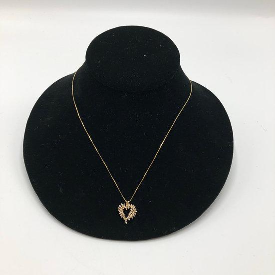 9ct Gold & Diamond Heart Shaped Pendant