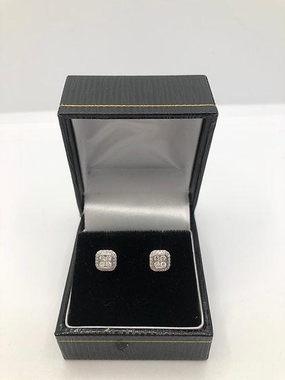 White Gold & Cluster Diamond Earrings