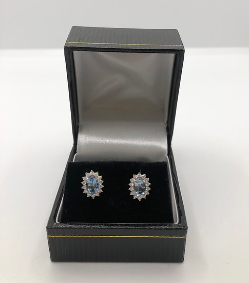 Aquamarine I Diamond Stud Earrings