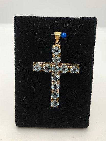 Gold & Blue Topaz Vintage Cross