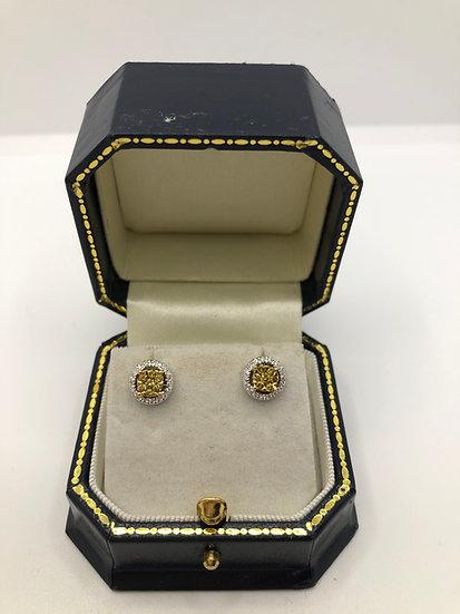Yellow & White Diamond Stud Earrings