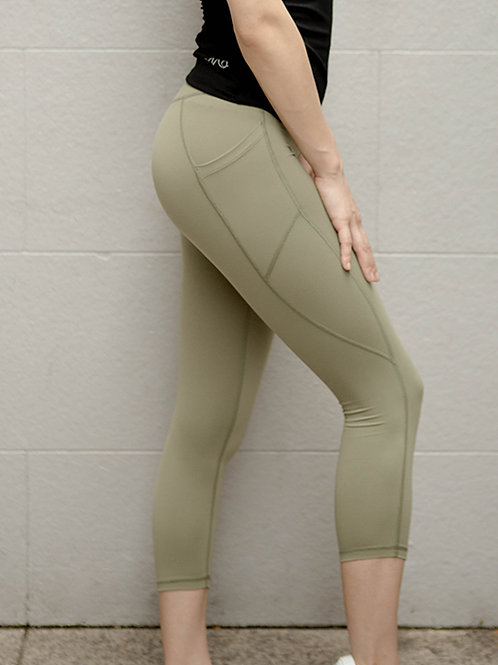 Aspire High-Rise Performance Crop Tights - Burnt Olive