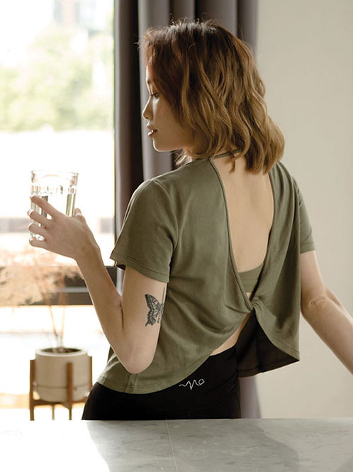 Stretch Out Open Back Tee - Thyme