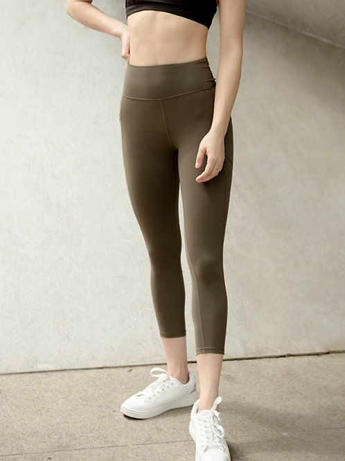 Aspire High-Rise Performance Crop Tights - Forest Night