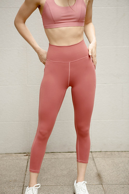 Aspire High-Rise Performance Crop Tights - Baked Apple