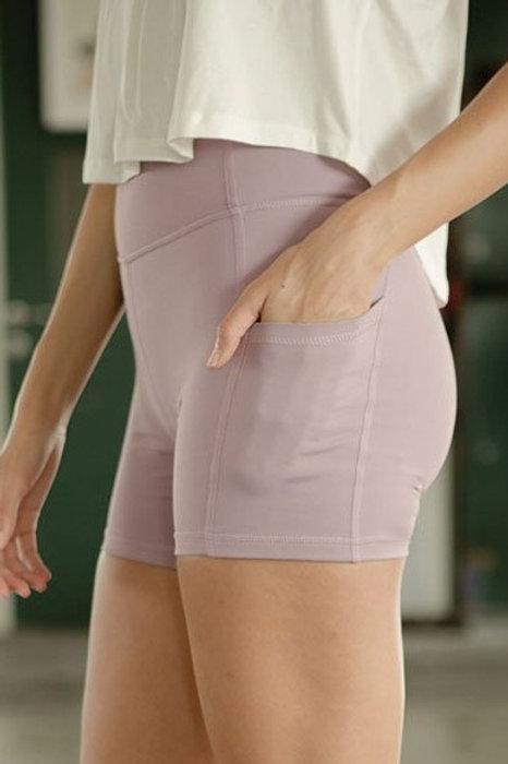 Blissed Out Biker Shorts - Elderberry