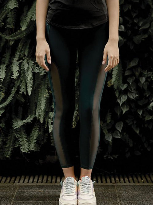 Serenity Active Mesh Tights - Outer Space Green