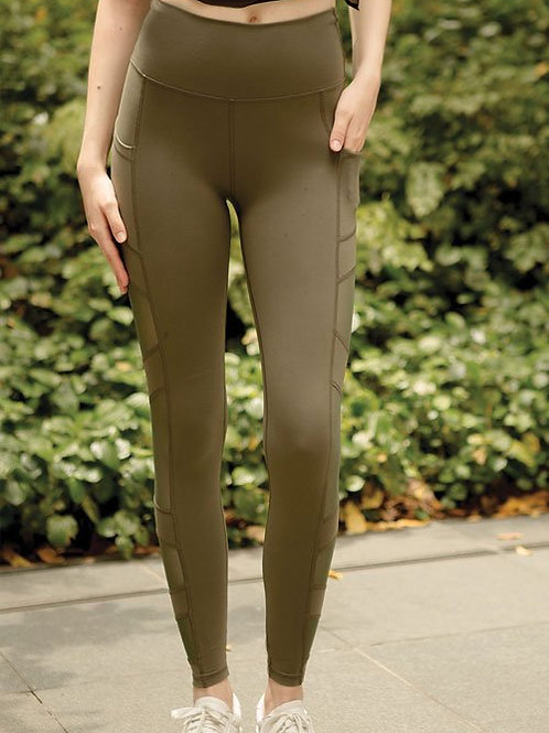 Good Vibes Mesh High Rise Performance Tights - Forest Night