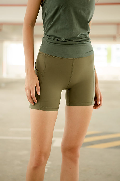 Lighten Up Biker Shorts - Ivy Green