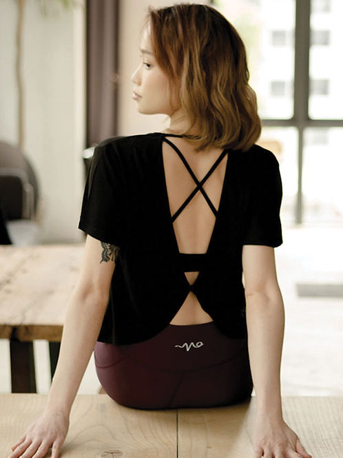 Stretch Out Open Back Tee - Classic Black
