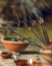 Burning aromatic incense sticks. Incense