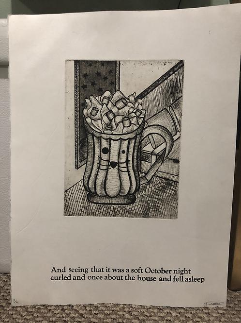 Soft October Night Text Print