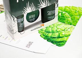 Men's Surface hair care produt photography shoot on white backdrop