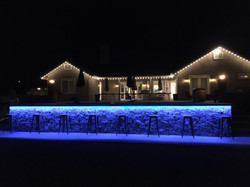 Night View of the Pool with Lights