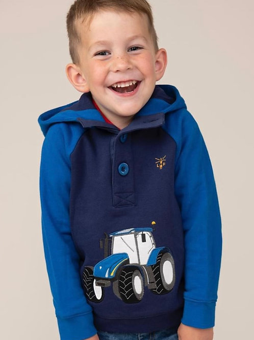 Lighthouse Blue Tractor Hoodie