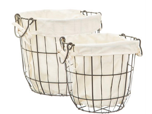 Set of 2 Wire & Fabric Baskets