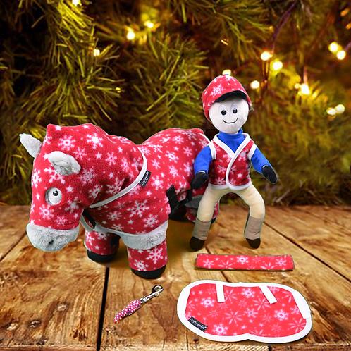Crafty Ponies Red/Snowflake Snuggle Rug Set