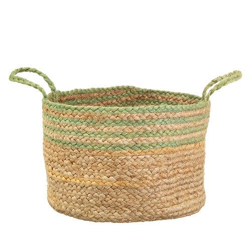 Green Trim Woven Basket