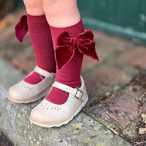 Condor Wine Velvet Bow Socks