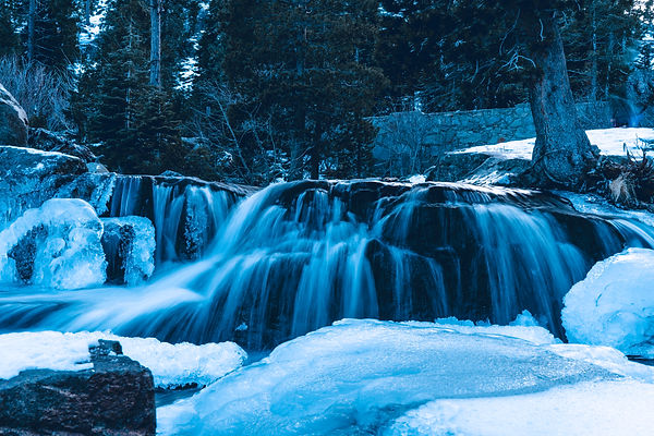 Waterfall. Winter. Snow. Ice. Landscape. Nature.